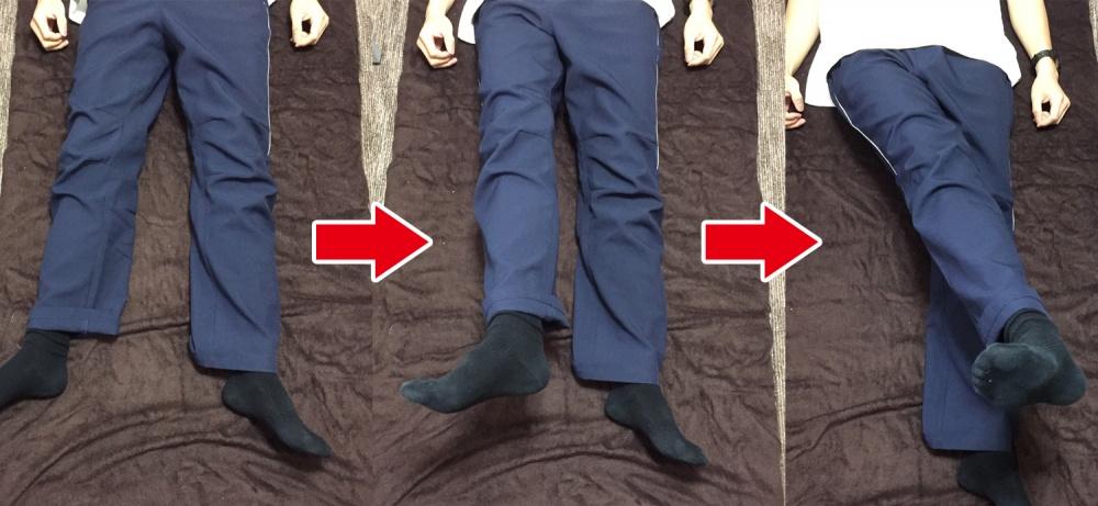 PNF訓練◆下半身・足の動き  健康側の左足を動かすことで麻痺のある右側に体重を乗せやすくする効果が期待できる